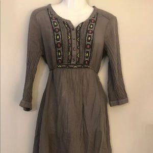 ELLA MOSS tunic top gray embroidered XS